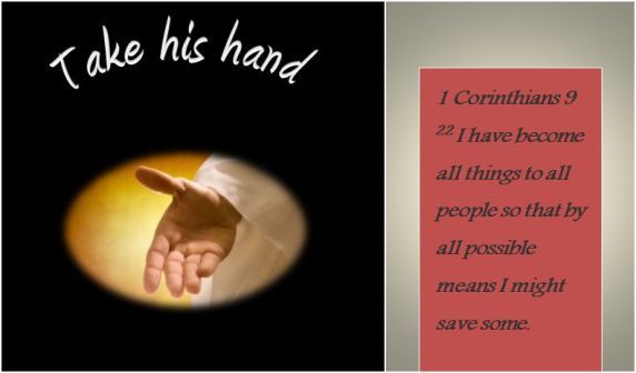 Bible take his hand